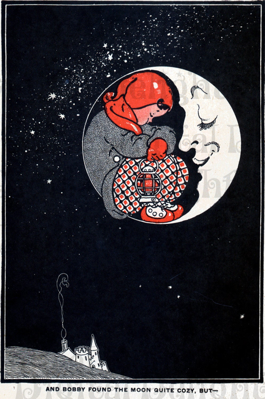 Cosy Moon. Fantastical Vintage Illustration. Moon Digital