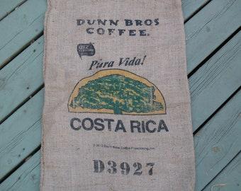 Burlap Coffee Bag, Dunn Bros Gunny Sack, Costa Rica Tree, Advertising, Home Decor, Upholstery, Wall Hanger
