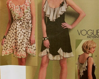 Ruffled Dress & Sash by Anna Sui Vogue American Designer Pattern 1104 Uncut Size  6-8-10-12 or 14-16-18-20