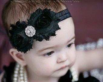 Baby headband, Black Shabby Headband, Shabby Chic headband, Baby headbands, Baby girl headband, toddler headband