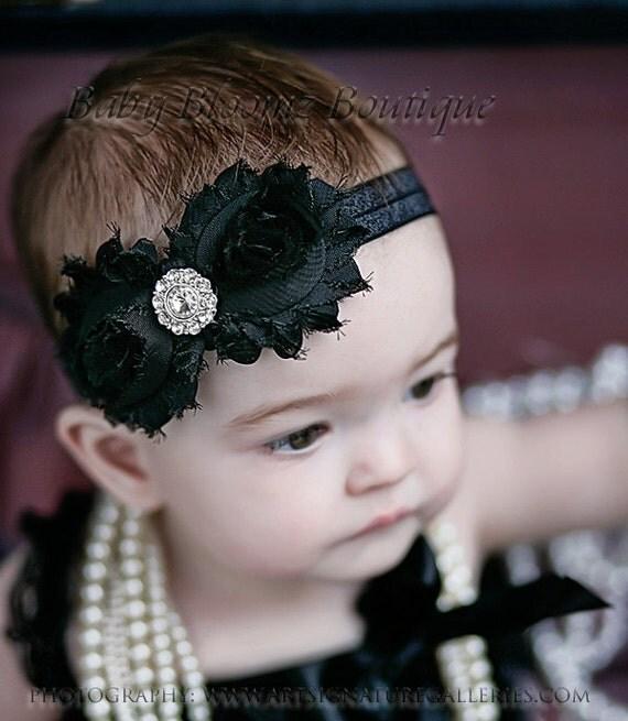 baby headband black shabby headband shabby by items similar to baby headband black shabby headband