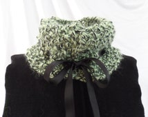 Boucle Cowl      Fern Green and Black, Cowl collar, Neck warmer, Scarflet, Neck band, Black satin ribbon accent, Warm, Ex soft, Med Chunky