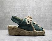 Vtg 80s Green Burlap Cut Out Chunky Platform Lace Up Espadrilles Sandals 5 M