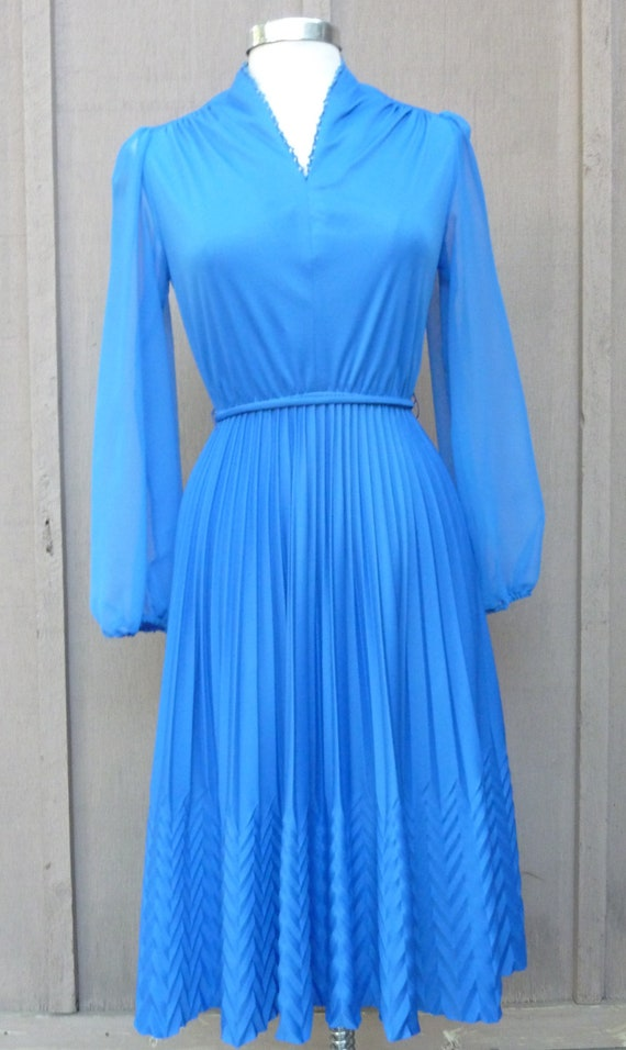Vintage Royal Blue Dress With Sheer Blue Chiffon Sleeves, Pleated Skirt Featuring Chevron Patterned Bottom