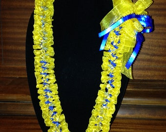 Custom Hand-Sewn Hawaiian Ribbon Lei - You Choose Color