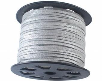 Silver Glitter Vegan Faux Suede Flat Cord 3mm