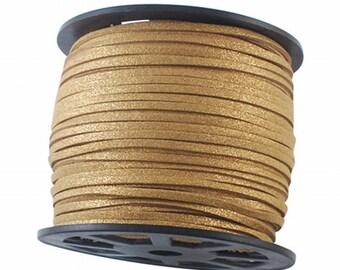Gold Glitter Vegan Faux Suede Flat Cord 3mm