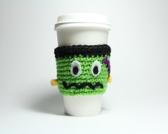 Frankenstein Coffee Cozy,  Halloween Coffee Sleeve, Crochet Java Jacket, Monster Travel Cup Holder, Can Wrapper