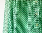 Vintage 70s Green Geometric Print Chiffon Blouse