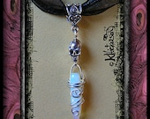 SEXY STEAMPUNK TALISMAN Necklace ~ Skull & Artisan Wire Wrapped Moonstone ~ Goth Wicked Cool Wearable Art ~ Karen Hickerson