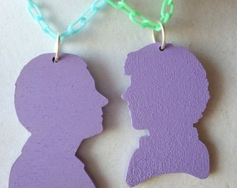 Choose your own colors - Sherlock and Watson Best friend necklaces.