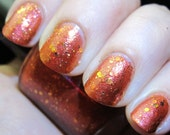 Rebel Heart Nail Polish - MINI - coppery red jelly with gold glitter and shimmer