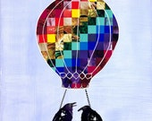 Hitching A Ride giclee print original paper cut/ collage