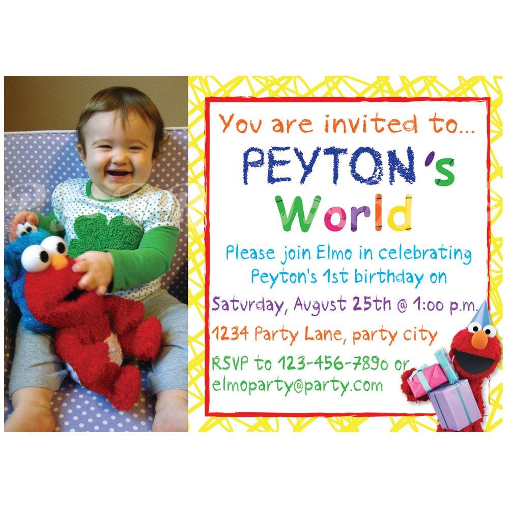 Elmos World Birthday Invitation Custom Digital File – Custom Elmo Birthday Invitations