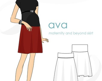 Maternity skirt pattern: Ava folded-waist maternity & beyond skirt pattern, PDF