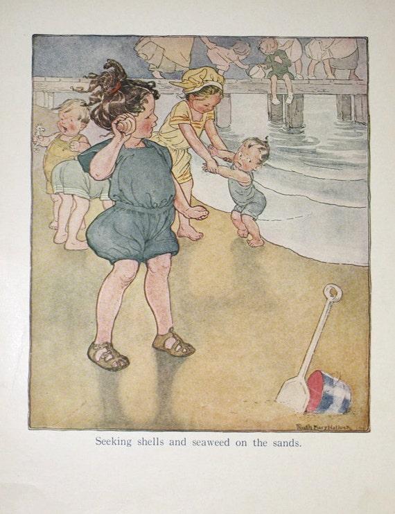 Vintage 1919 Children's Book Plate Illustration Children