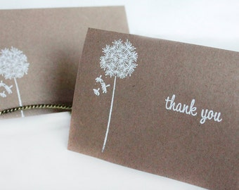 Rustic Thank You Cards, Kraft Thank You Card Set, Wishes Thank You Card, Wedding Thank You Cards- set of 15