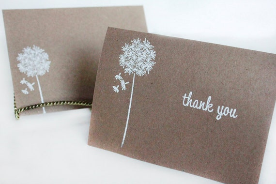 Rustic Thank You Cards Kraft Thank You Card Set Wishes Thank