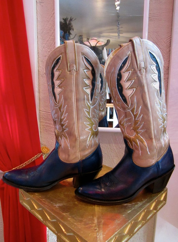 Brilliant Vintage Tall Calf Cowboy Boots ACME Cognac Brown Leather Womens Size