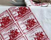 Screen Printed Organic Cotton Vintage American stamp Flour Sack Tea Towel - Kitchen Towel for Dishes