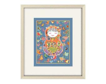 Nursery art, baby girl nursery decor, girl nursery art, childrens art, babushka art print, girl nursery decor, baby girl room art, baby gift