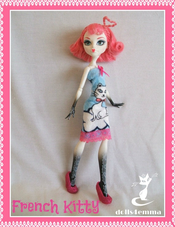 Monster High Doll Clothes - French Kitty - Handmade Dress