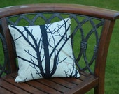 Beige and black forest tree pattern cushion pillow cover,  16 inches,