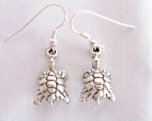 CLEARANCE - Silver metal tortoise charm earrings - tortoise jewelry - metal charm earrings - tortoise charms - tortoise earrings - turtles
