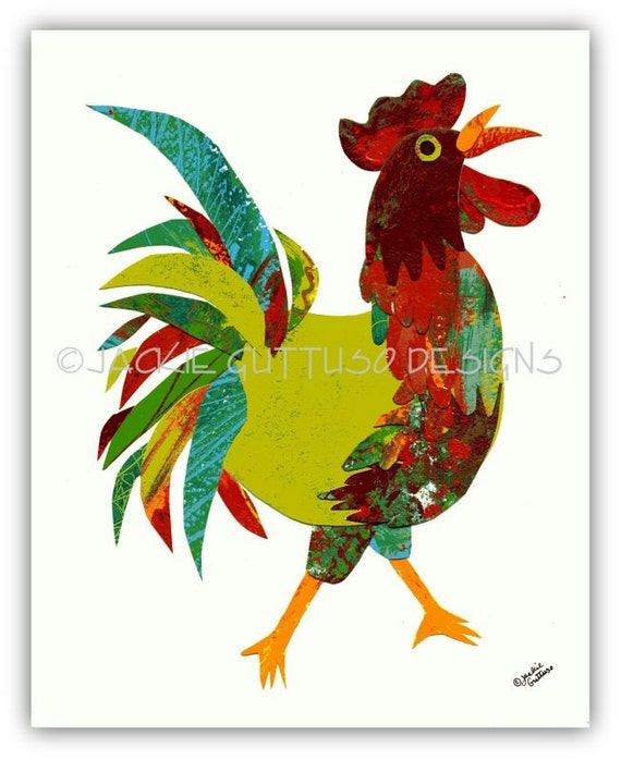 Rooster art, Original rooster collage, Whimsical rooster, Rooster kitchen art, Kitchen art, Farm art, Farm nursery art, Chicken art