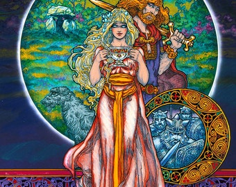 """Celtic Irish Fantasy Art 'The Magic Cup' Signed and numbered Limited Edition 33x23"""" Print. Ireland, Love, Romance, Witch, Warcraft."""