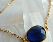 Sapphire Blue Quartz  Round Faceted Gold Plated Bracelet. Classy Modern Gifts For Her.