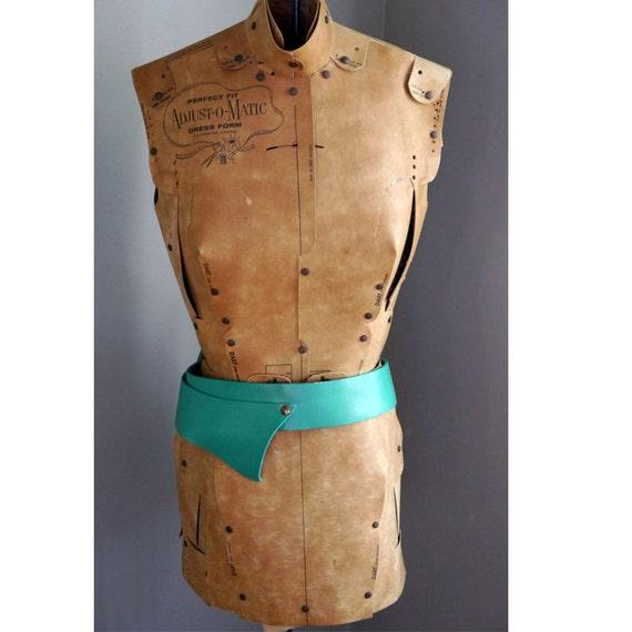 1960s Aqua Green Leather Belt // Womens // Vintage accessories