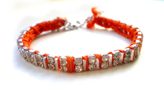Neon Orange Rhinestone and Thread Bracelet