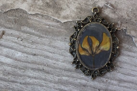 Victorian inspired real yellow flower necklace