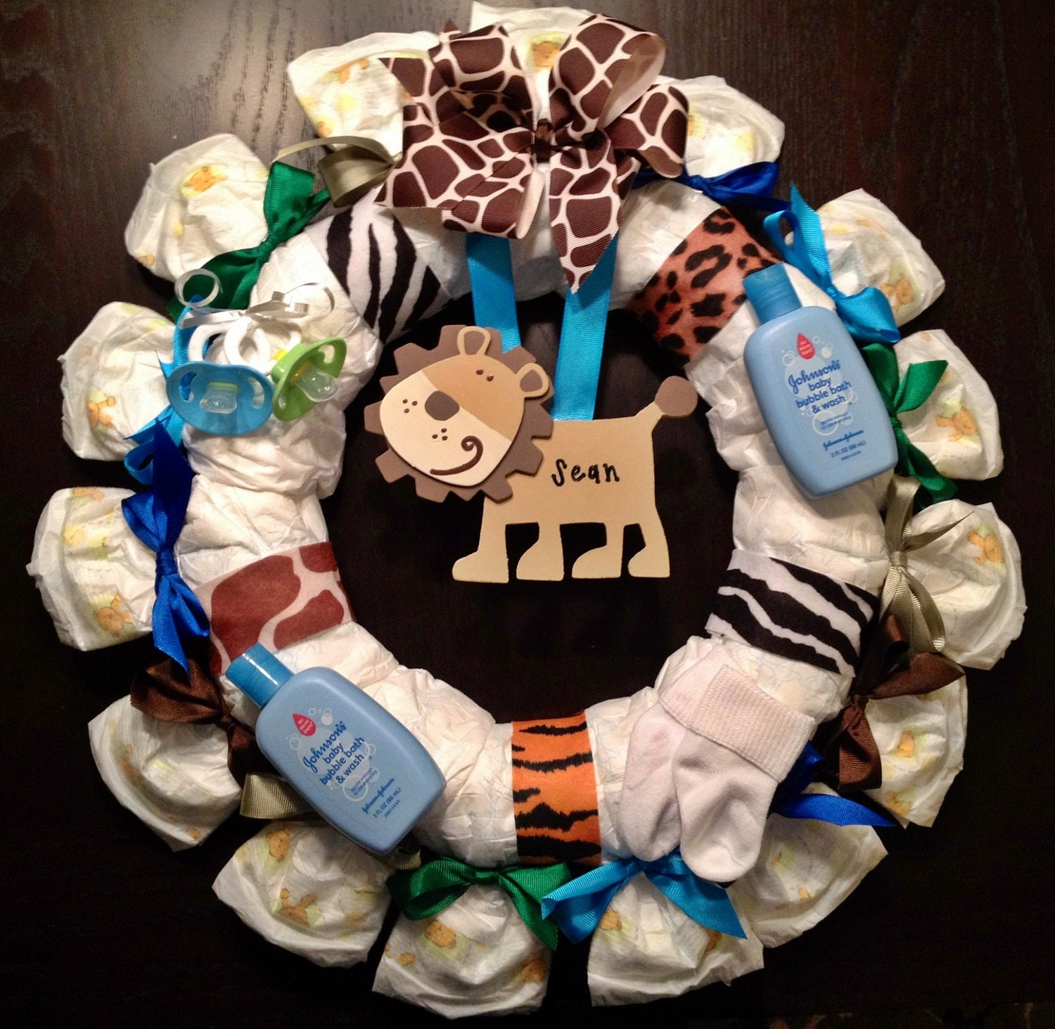 Items similar to personalized diaper wreath baby shower for Baby shower decoration ideas with diapers