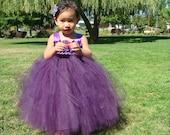 Elegant Plum/eggplant Flower girl tutu dress, Pageant dress, baptismal dress
