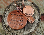 Still Birth Pendant in Copper with Name and Date Charms on a Ball Chain Necklace, Tribute Necklace