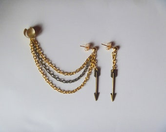 Arrow Ear Cuff and Earring, Earrings, For Her, Gold and Bronze Chain