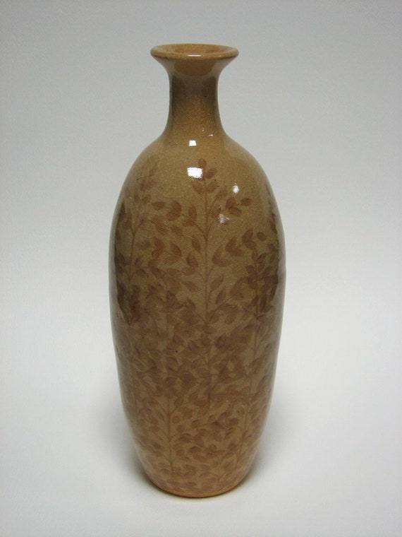 Hand Painted Stoneware Bottle/Vase with Tree Motif