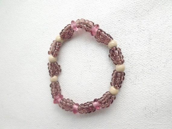 Glass & Wood Bracelet Pink Elastic