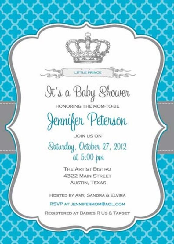El Dorado Blue Card >> Items similar to Baby Shower Invitation - Prince Crown for Boy- DIY Printable - Blue on Etsy