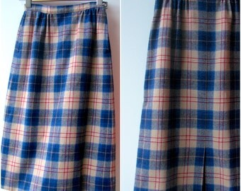 Wool Plaid Skirt / Vintage 1970s Pendleton Skirt / size 2 / small