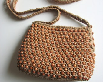 Vintage Woven Purse/ Wooden Messenger style/ 1940s Made in Japan