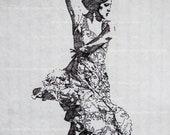 Ink Illustration - Flamenco Dancer OOAK