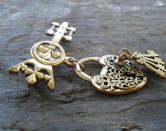 Vintage Key to My Heart Brooch in Bronze 1930s-1940s Steampunk or Victorian Look