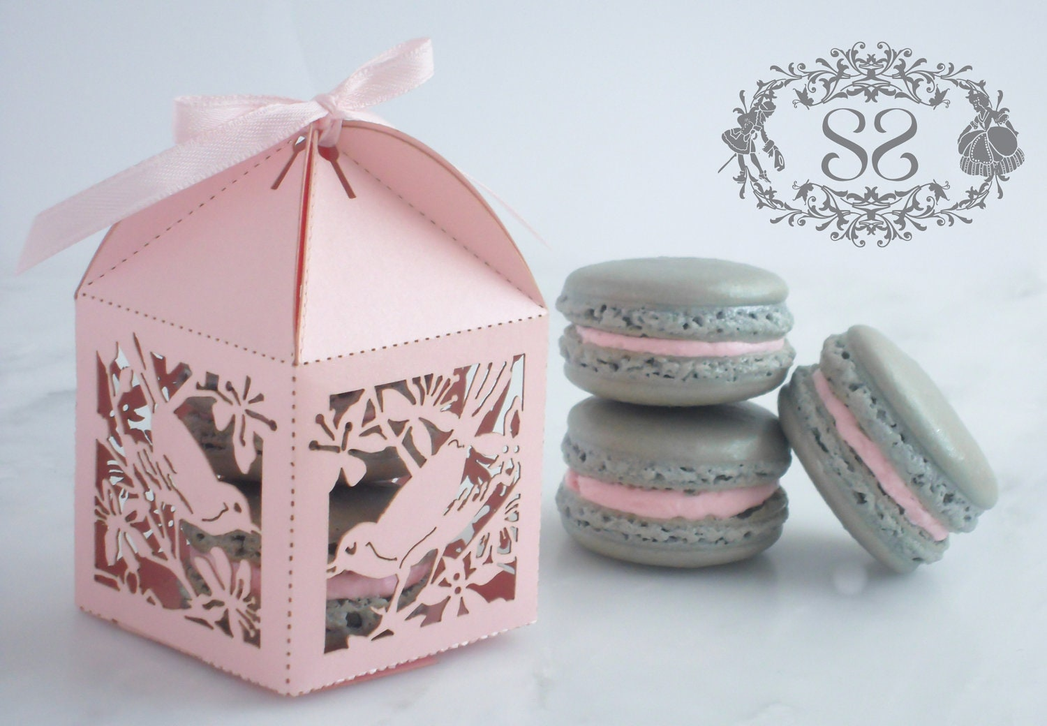 Wedding Favor Macaron Favor Song Bird Wedding Favor Box And