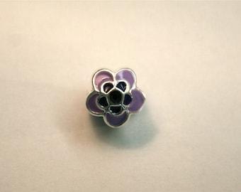 Enamel Purple Flower Bead