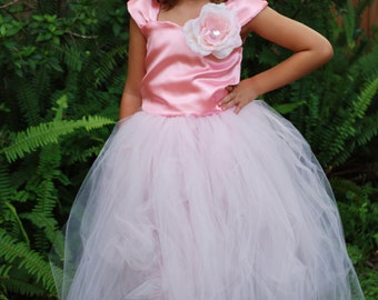 QUICK SALE Two piece back laced (corset type) satin top embellished with large silk rose, poofy tutu skirt (120 yds) with optional liner.