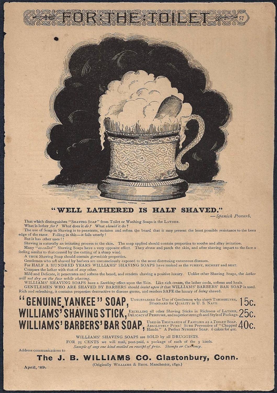 Antique Shaving Ad Genuine Yankee Soap Williams Shaving