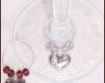 Wedding Gift Wine Charms for Bridesmaid and Groomsman